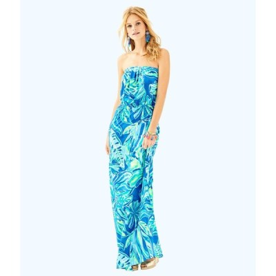 ワンピース リリーピュリッツァー Lilly Pulitzer MARLISA MAXI DRESS Beckon Blue Palm Passage Green White S