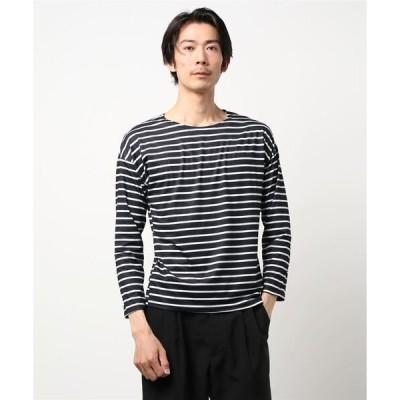 tシャツ Tシャツ オーバーサイズ ボートネック ボーダー ロングTシャツ 長袖 SVEC /シュベック