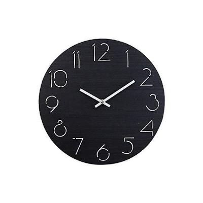 壁掛け時計 木製 け鐘 おしゃれなインテリア時計 連続秒針 音無し 円形 環境にやさしい 天然木 飾り付け 電池式 直径約30cm (ブラック)