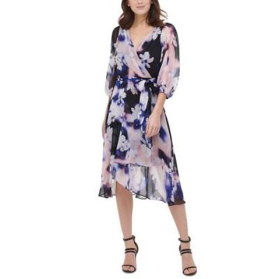 ダナ キャラン ニューヨーク レディース ワンピース トップス Floral-Print Wrap Dress