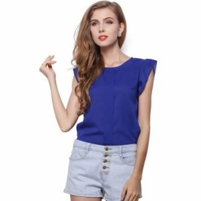 レディース トップス Tシャツ カットソー キャップスリーブ ブルー グリーン イエロー ピンク S M L XL 送料無料