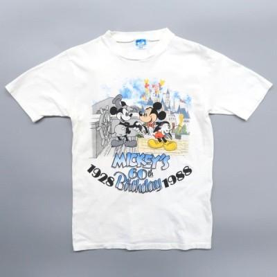 80年代 USA製 オールドディズニー ミッキー キャラプリントTシャツ サイズ表記:M