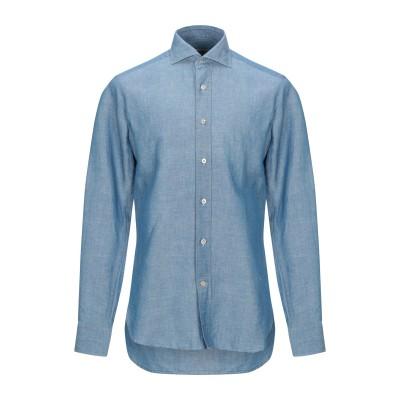 GUGLIELMINOTTI シャツ ブルーグレー 40 リネン 55% / コットン 45% シャツ