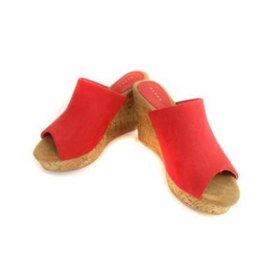 【中古】ランダ RANDA ウェッジソール サンダル ミュール コルクウェッジ 厚底 靴 レッド系 赤 L レディース