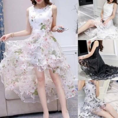 結婚式 ドレス パーティードレス お呼ばれ ワンピース 二次会 ドレス 袖なし 発表会 20代 30代 40代 オーガンザ 花柄