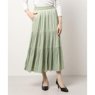 スカート 【洗濯機で洗える】ティアードロングスカート