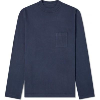 アルバム Albam メンズ 長袖Tシャツ トップス long sleeve workwear tee Navy