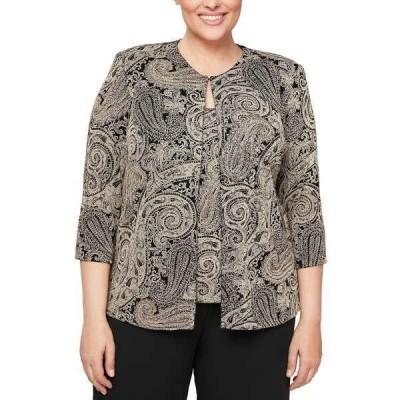 アレックスイブニングス カットソー トップス レディース Plus Size Glitter-Print Jacket & Top Set Black/Stone