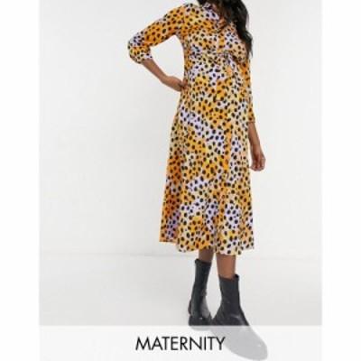ピーシーズ Pieces Maternity レディース ワンピース ミドル丈 ワンピース・ドレス Shirt Midi Dress With Tie Waist In Mixed Spot Prin