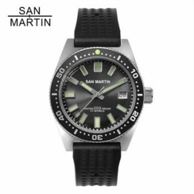 San Martin 62MAS 自動巻 ステンレス 200m 防水 12 ルミナス ベゼル Relojes Hombre