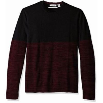 Calvin Klein カルバンクライン ファッション トップス Calvin Klein Mens Sweater Black Red Size 2XL Colorblock Crewneck Wool