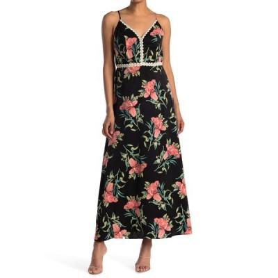 コレクティブコンセプツ レディース ワンピース トップス Crochet Trim Maxi Dress BLACK FLORAL