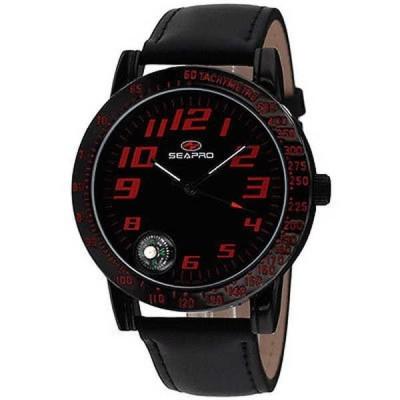 腕時計 シープロ Seapro メンズ SP5114 'Raceway' ブラック レザー 腕時計