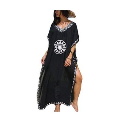 Bsubseach レディース 体型カバー 大きいサイズ 水着カバー ビーチウェア Vネック 刺繍 ローブ ワンピースドレス 夏 黒