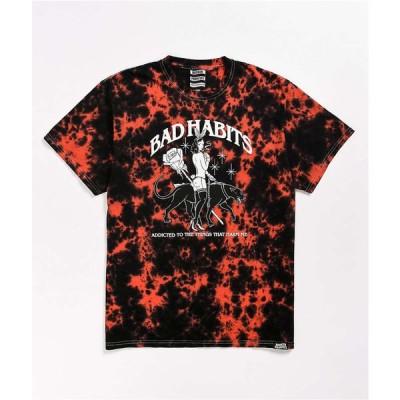 ブロークン プロミス BROKEN PROMISES メンズ Tシャツ トップス Broken Promises Bad Habits Red Tie Dye T-Shirt Red