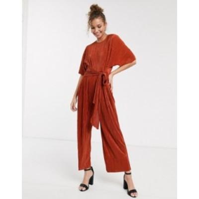 エイソス レディース ワンピース トップス ASOS DESIGN plisse tie front culotte jumpsuit Rust
