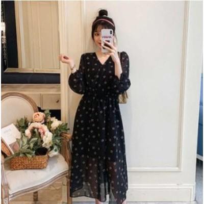 予約商品 大きいサイズ レディース シフォン プリント バルーン袖 ワンピースオーバーサイズ 韓国ファッション ビッグサイズ otona LL 3L