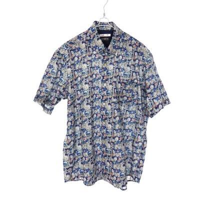 【中古】バジエ VAGIIE 総柄 ボタンダウンシャツ トップス 半袖 50 ネイビー 紺 イタリア製生地使用 春夏 メンズ 【ベクトル 古着】
