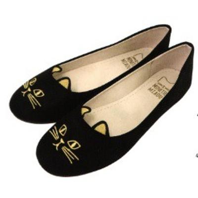 『刺繍ねこパンプス ブラック』レディース 可愛い猫の顔をしたキャットパンプスが登場! ジップ 靴