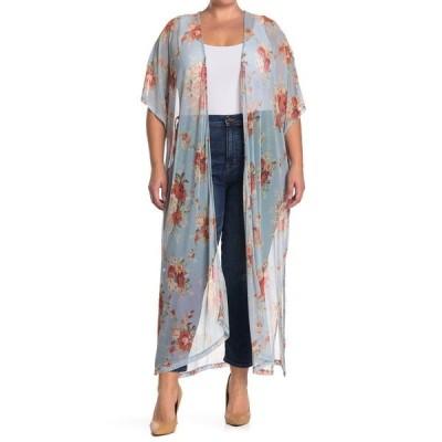 グッドラックジェム レディース ジャケット&ブルゾン アウター Mesh Floral Print Short Sleeve Kimono BLUE FLORAL