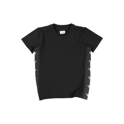 ARMANI JUNIOR T シャツ ブラック 4 コットン 100% / ポリエステル T シャツ