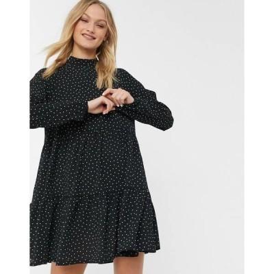 モンキ レディース ワンピース トップス Monki Nola polka dot mini smock dress in black Black