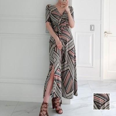 リゾートワンピース ワンピース リゾート 韓国 ファッション  春 夏 カジュアル naloK232  ブロック柄 マルチストライプ ラップ マキシ