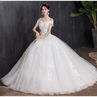 ウェディングドレス チュール重ね ビスチェ オフショルダー スレンダーライン ブライダル 花嫁 結婚式 二次会 お呼ばれ 豪華 プリンセス 2枚送料無料
