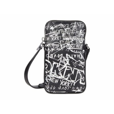 ダナ キャラン ニューヨーク ハンドバッグ バッグ レディース Erin North/South Phone Crossbody Black/White Street Graffiti
