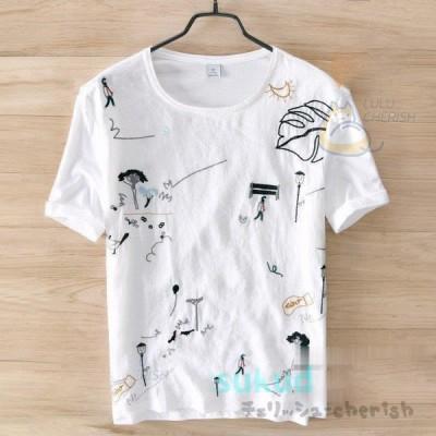 Tシャツ メンズ 半袖Tシャツ 丸首 半袖 T-SHIRT トップス 涼しい 通気性 吸汗 肌触りがいい 夏 父の日