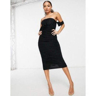フェム リュクス Femme Luxe レディース ボディコンドレス ワンピース・ドレス bodycon dress with drape detail in black ブラック