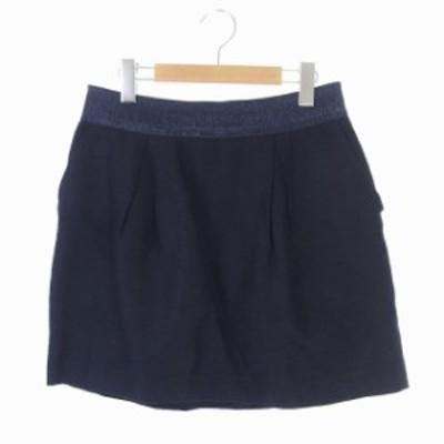 【中古】アドーア ADORE 台形スカート ミニ タック 切替 38 紺 ネイビー /ES ■OS レディース