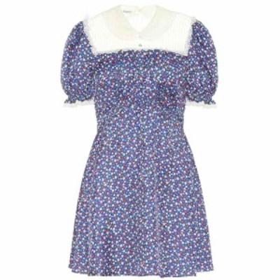 ミュウミュウ Miu Miu レディース ワンピース ワンピース・ドレス Lace-trimmed floral silk minidress Bluette