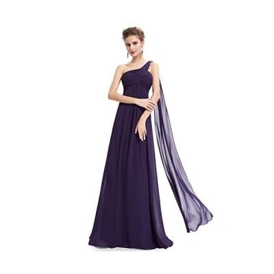Ever-Pretty ロングイブニングドレス レディース ワンショルダー 袖なし スリムライン リボン付き マキシ丈 シンプルシフォン パーティー
