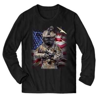 【ぶち猫 ねこ 星条旗 アメリカ 兵士】メンズ 長袖 Tシャツ by Fox Republic