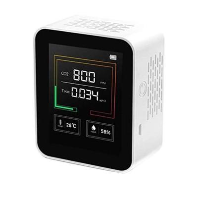 CO2センサー CO2濃度測定 二酸化炭素濃度計 CO2 CO2センサー 空気質検知器 空気品質 リアルタイム監視 温度湿度表示付き USB充電 コロナ