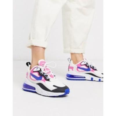 ナイキ レディース スニーカー シューズ Nike Air Max 270 React white pink and black sneakers White/blue