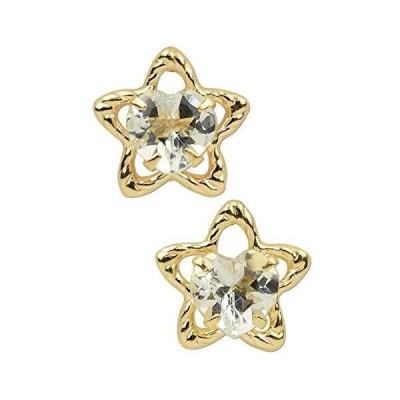 [四葉のクローバー] 星 ピアス アクアマリン K10 10金 ゴールド 3月 誕生石 10k 華奢 かわいい 天然石