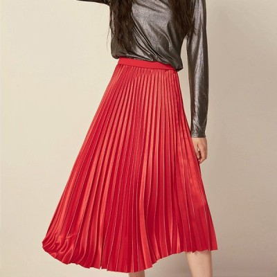 秋冬クラシカルプリーツスカート 光沢 レディース スカート 秋冬 大きいサイズ 大人コーデ Aライン 上品 ひざ下