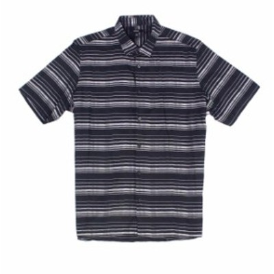 Alfani  ファッション アウター Alfani Mens Shirt Black Size Large L Button Down Striped Short-Sleeve