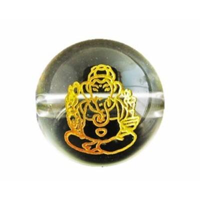 ガネーシャ 水晶 (金色入り)12mm 横穴 手作りにオススメ! 天然石 パワーストーン