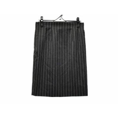 セリーヌ CELINE スカート サイズ40 M レディース - ダークグレー×ライトグレー ひざ丈/ストライプ【中古】20210211