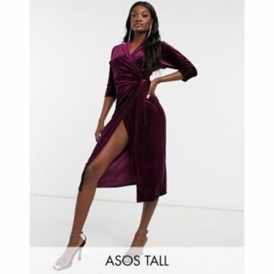 エイソス ASOS Tall レディース ワンピース ラップドレス ミドル丈 ワンピース・ドレス Asos Design Tall Velvet Wrap Midi Dress In Ber