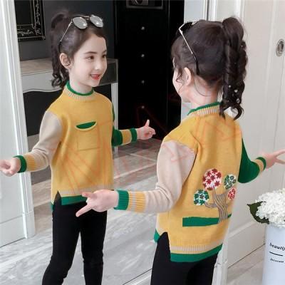 子供服 ニット キッズ 韓国子供服 ケーブルニット色合い 女の子 トップス 長袖 長そで 可愛い 裏起毛