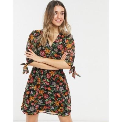 ニュールック レディース ワンピース トップス New Look tie sleeve button front mini dress in black ditsy pattern
