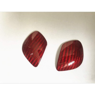 フォルクスワーゲン 専用 シフトノブカバー Volkswagen VW サイドカーボンカバー GOLF MK7 Tiguan JETTA Polo Beetle passat CC (赤)