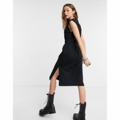 オブジェクト Object レディース ワンピース ミドル丈 ワンピース・ドレス Midi Dress With Padded Shoulder In Black ブラック