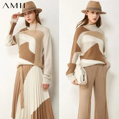 海外輸入アパレル Amiiミニマリズム秋冬セーター女性用ファッションタートルネックセーターフルスリーブルースタートルネックセータートップス120405
