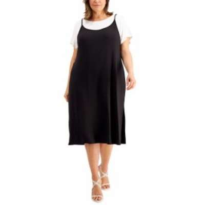 カルバンクライン レディース ワンピース トップス Plus Size Chain-Strap Midi T-Shirt Dress Black