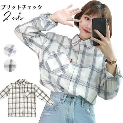 チェックシャツ レディース ボタンシャツ カジュアルシャツ ゆるシャツ トップス ロング丈 ルーズ ゆったり 通勤